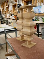 Hanson Woodturning. Square turnings. Kitchen Islands. Table Legs. Pedestal Bases. Table Bases. Large Finials.